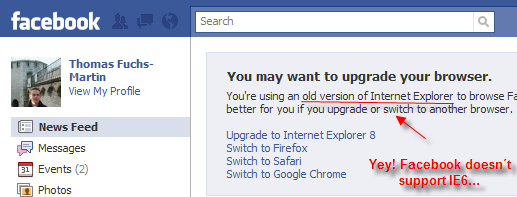 Facebook has its opinion about IE6...